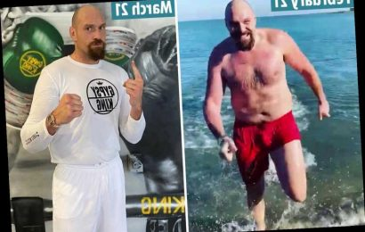Tyson Fury looks unrecognisable with incredible trim figure for Anthony Joshua fight… despite 12 pints a DAY claim