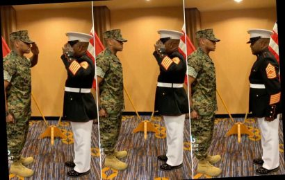 Video of emotional Marine saluting his son for the first time goes viral