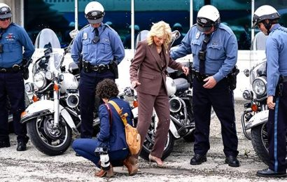 First Lady Jill Biden Nearly Trips After Getting Heel Caught In Pavement: See Close Call Malfunction