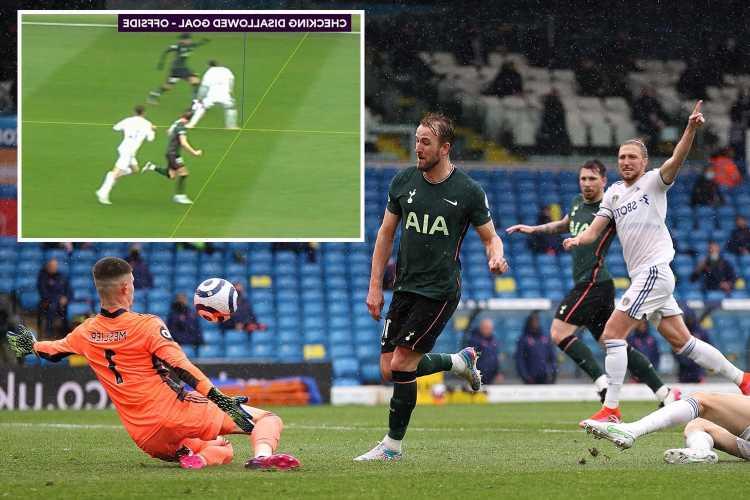 Harry Kane goal denied by VAR despite Tottenham fans raging he was 'level' in Leeds clash