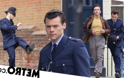 Harry Styles gets stuck back in to action-packed My Policeman scenes after Brits