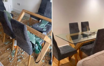 Woman sparks fears after her glass dining table EXPLODED in the night sending glass shards flying around the room