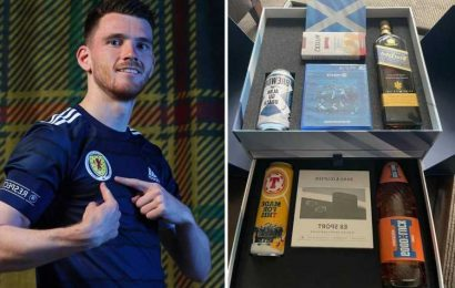 Andy Robertson surprises Scotland team-mates with £900 Euro 2020 gift boxes including can of Tennents, Irn Bru & whiskey