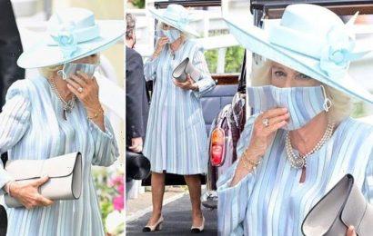 Camilla stuns in new blue summer coat and signature pearl necklace at Royal Ascot 2021