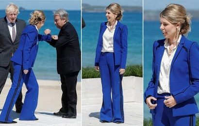 Carrie Johnson dons a cobalt blue suit at the G7 summit in Cornwall
