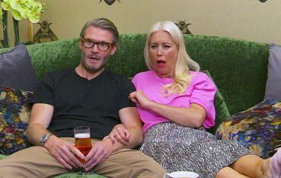 Gogglebox fans cringe as Denise Van Outen's fiancé eats dessert as dog licks it