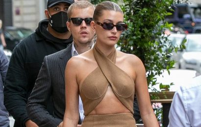 Hailey Bieber Has a Street Style Moment For the Ages in a Cutout Dress and $189 Vegan Heels