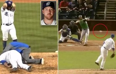 Horrifying moment minor league pitcher takes line drive off his face