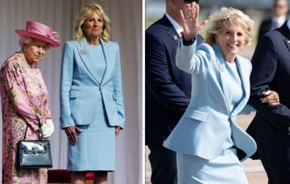 Jill Biden recycles stunning pastel blue suit to have tea with The Queen