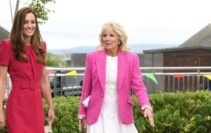 Kate Middleton and Jill Biden delightedly read to children as they meet for first time