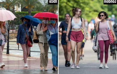 UK weather: Brits soak up the weekend sun as temperatures soar to 25C – while Ibiza tourists hide under umbrellas