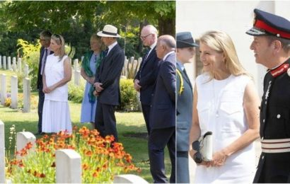 'Class and dignity personified': Countess of Wessex stuns in white dress visiting cemetery