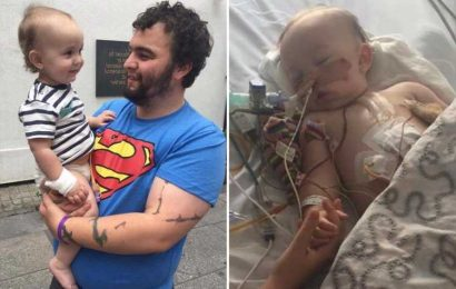 Dad's warning as baby son almost died after swallowing button battery and needed 28 operations