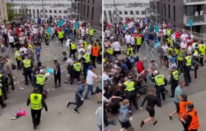 Fans storm Wembley security barriers and rush into stadium before being chased by stewards ahead of England vs Italy