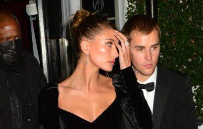 Hailey Bieber Channeled a Goth Disney Princess with a Super-High Slit Gown