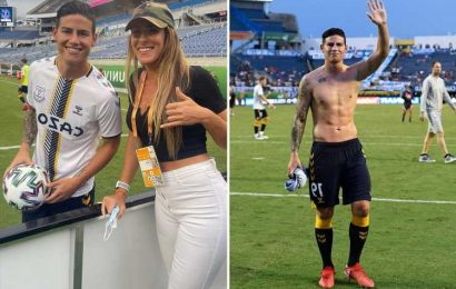 James Rodriguez gives Everton shirt to Natalia Guitler, the freestyle football queen who knows Ronaldinho and Neymar