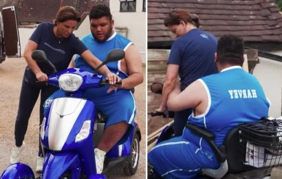 Katie Price's son Harvey, 19, swears as he almost crashes testing out new mobility scooter on grounds of mucky mansion