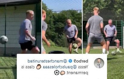 Man Utd icon Paul Scholes shows he has still got it aged 46 as fans and old team-mate Berbatov say 'class is permanent'