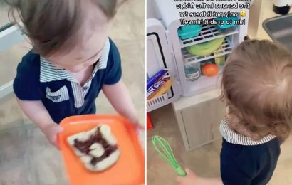 Mum lets 17-month-old son make his own food to 'teach him independence' & he even has his own replica kitchen