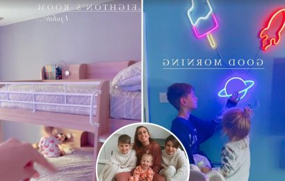 Stacey Solomon shows off son's bedroom she transformed with £4.99 neon lights, flat screen TV & HUGE bunk bed
