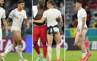 TV viewers hot under the collar as Italy stars strip down to PANTS in wild celebrations after Belgium win at Euro 2020