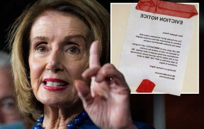 'Eviction notice' taped on Nancy Pelosi's home in protest at moratorium end as millions face homelessness