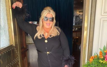 Gemma Collins shows off trim waist after three stone weight loss in designer outfit