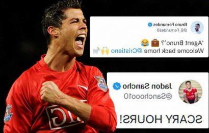 Jadon Sancho calls Cristiano Ronaldo's Man Utd return 'SCARY' while Bruno Fernandes jokes he brokered deal