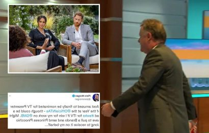 Piers Morgan takes thinly-veiled swipe at Meghan Markle after TV award nomination & jokes he'll ask her to collect gong