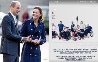The Duke and Duchess of Cambridge send support to Paralympic Games