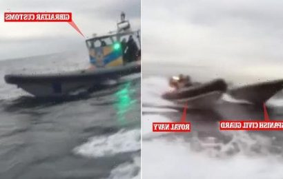 Dramatic moment Royal Navy vessel chases off and 'hits' Spanish