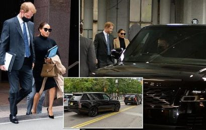 Eco-warriors Harry and Meghan seen traveling around NYC in SUVs