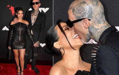 Kourtney Kardashian and Travis Barker make red carpet debut at VMAs 2021