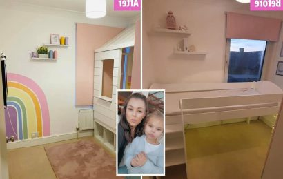 Mum transforms her daughter's tiny box room into a rainbow wonderland with a TREEHOUSE and she only spent £40