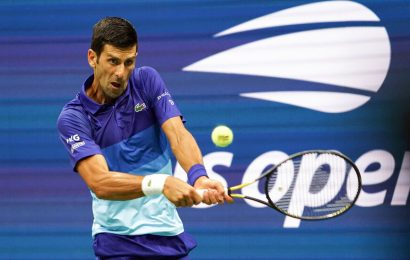 Novak Djokovic holds off Holger Rune in his first U.S. Open match.