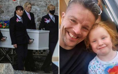 Plymouth shooting victim, 43, is buried together with adoptive daughter, 3, in single coffin