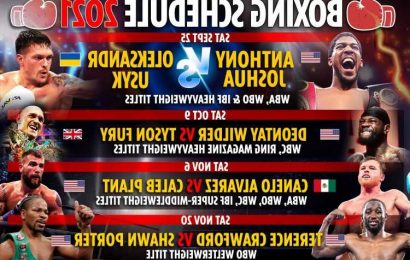 Upcoming boxing fights 2021: Fixture schedule – Anthony Joshua vs Oleksandr Usyk THIS WEEK, Fury vs Wilder 3 DATE