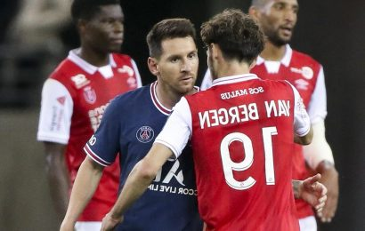 Watch Lionel Messi REFUSE to swap shirts with Reims' Mitchell van Bergen after PSG debut as winger reveals snub