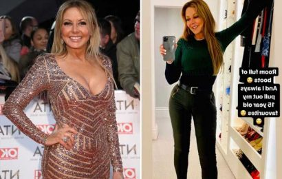 Carol Vorderman says she's 'strictly single' and vows to keep showing off her bum in sexy leather trousers