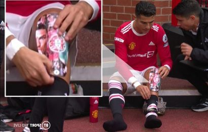 Cristiano Ronaldo gives glimpse of personalised shin pads with his own face on as he comes on for Man Utd vs Everton