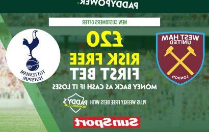 Get £20 risk-free bet on West Ham vs Tottenham Premier League game, plus 115/1 Son Heung-Min goal prediction special