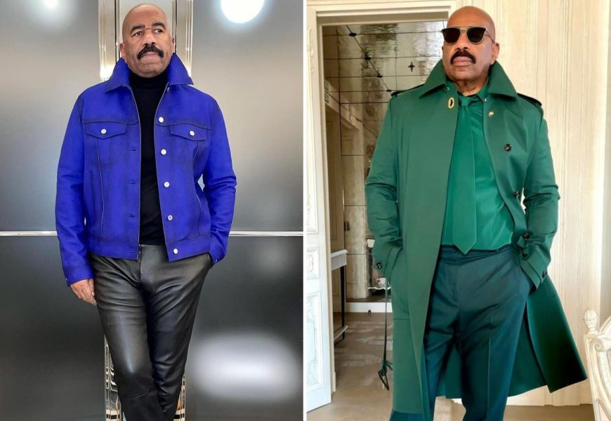 Inside Steve Harvey's fashion glow-up as he transformed from drab TV dad in oversized suits to style icon