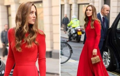 Kate Middleton dons all red outfit with £300 handbag for event in London