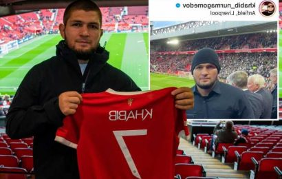 Khabib cheers on Man City vs Liverpool just 24 hours after meeting Man Utd stars and being given tour of Old Trafford