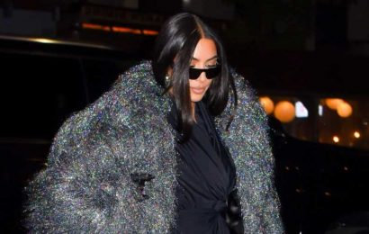 Kim Kardashian Wore a Super Fuzzy and Shimmery Coat to Dinner with the 'SNL' Cast