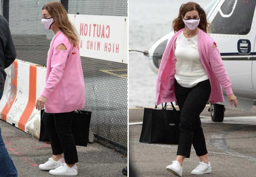 Melinda Gates arrives in NYC via helicopter wearing bevy of designer duds