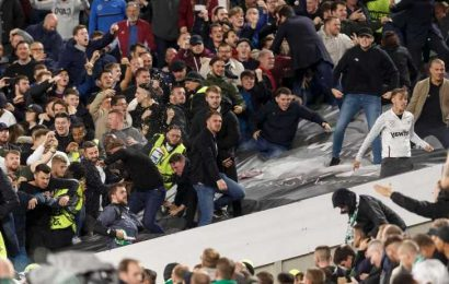 Police make three arrests after emergency worker assaulted during shocking clash between West Ham and Rapid Vienna fans