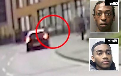 Shocking moment teen killer guns down rival in drive-by shooting as he's unmasked for first time