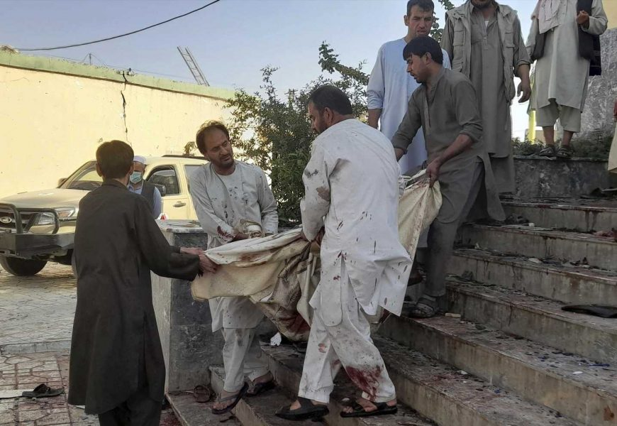 Suicide bomb on Afghan mosque kills at least 50 people in deadliest blast since US left, as ISIS claim responsibility